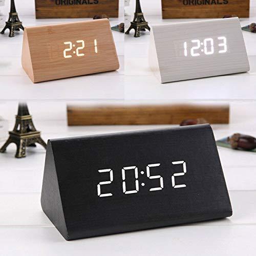 Madera LED reloj del escritorio, Triángulo sola pantalla Despertadores electrónicos con cable USB...