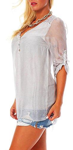 Malito Damen Bluse Aus Seide | Tunika mit ¾ Armen | Blusenshirt mit Spitze | Edles Oberteil