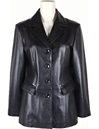 UNICORN Mujeres Genuino real cuero chaqueta Estilo clásico Blazer traje Negro #AI