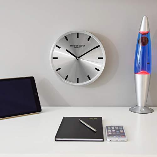 Design Aus Gebürstetem Chrom-finish (London Clock Wanduhr, glatt, gebürstetes Chrom, 25 x 25 x 4,5 cm)