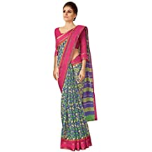 Miraan Printed Bhagalupri Cotton Saree with Zari Border for Women with Blouse (X4005)
