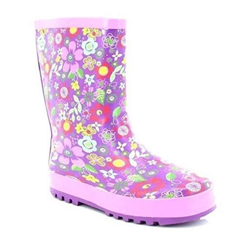 Stormwells Girls Floral Print Short Wellington Boots Mauve/Pink