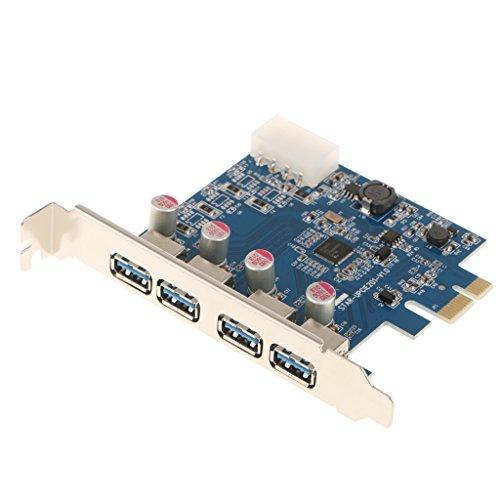 Homyl USB 3.0 4 Puertos Traseros Internos Tarjeta PCI Express Adaptador 4PIN para PC De Escritorio