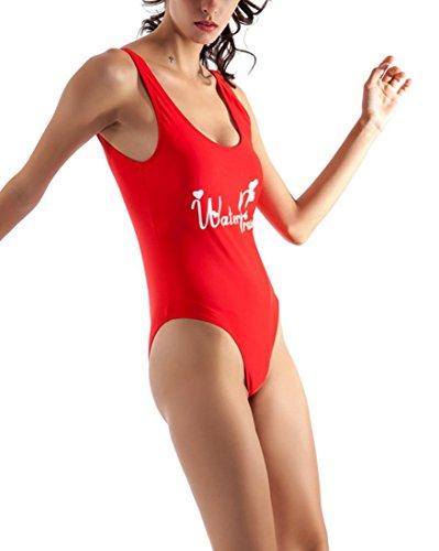 DFL Frauen Letter Print Badeanzug Backless Monokini Bikini-Badeanzug Red