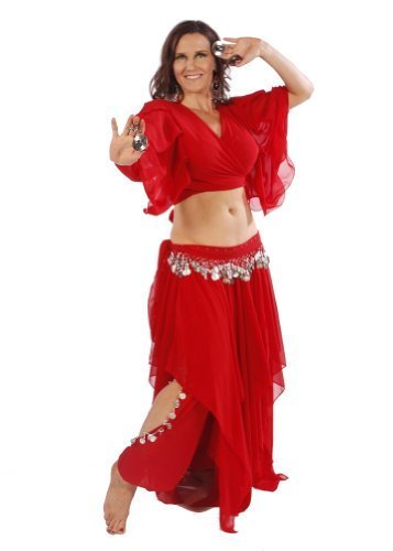 Miss Belly Dance Bauchtanz Skirt-Pants, Choli Top & Hip Schal Kostüm-Set | Passform für Fatine, CS195RedGLD-CA