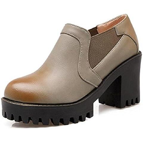 Le donne scoprono i stivali tondo testa bassa aiuto scarpe piattaforma impermeabile con alta - scarpe col tacco , gray , 39
