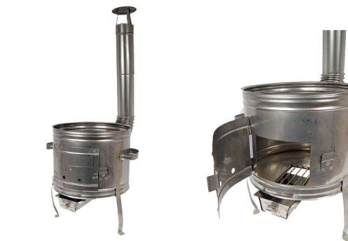 Edelstahl Ofen 39 Holzofen Gulaschkanone Terrassenofen für Töpfe bis 10 Liter