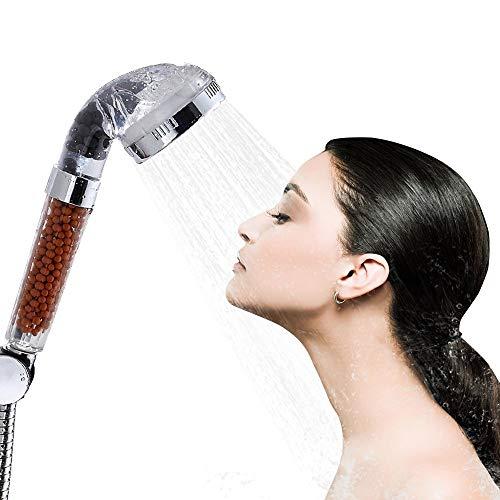 Soffione Doccia,Bukm doccetta acqua della testa di risparmio ionico Filtro filtrazione doccia spray doccia a telefono 200% di alta pressione al 30% di risparmio di acqua per la pelle secca e capelli