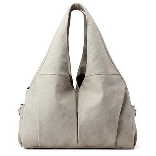 Borsa grande della lettera di modo della borsa della spalla della ragazza del sacchetto della tela di canapa meters white