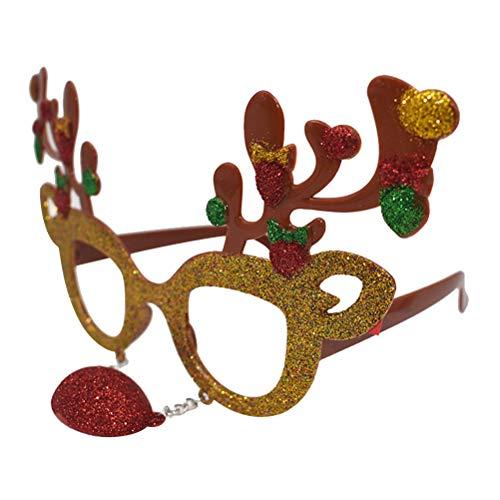 BESTOYARD Weihnachten Brille Rahmen Spaßbrille Partybrille Weihnachtsdeko Kinder Erwachsene Kostüm (Golden Rentier)