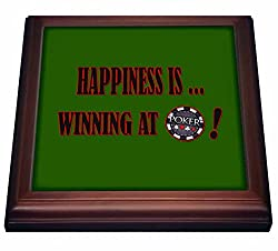 3dRose trv_218721_1 Happiness Is Winning At Poker. Best seller Quotes. Popular Image. Trivet with Ceramic Tile, 8 x 8, Natural