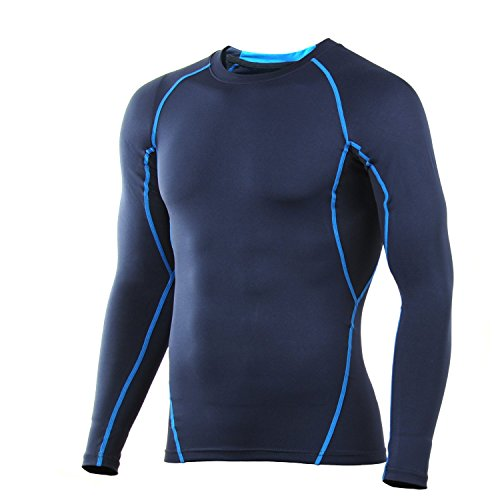 4ucycling Compresión Tight capa base camiseta transpirable diseño mangas Fit Slim–Deportivo para trabajar fuera Azul/Negro