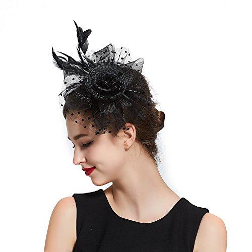 Feder Fascinator, Haarreif und Clip Hochzeit Ascot Hat für Damen und Mädchen Gr. One size, (Derby Kinder Hut Schwarz)