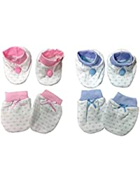 Triple B Newborn Baby Mittens & Booties Set - (0-6 Months) - Pack of 2
