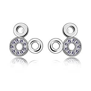 Silver Swarovski Elements Crystal Diamond Accent Disney Fashion Earrings Studs Drop Set for women teenage girls kids children, with a Gift Box, Ideal Gift for Birthdays / Christmas / Wedding---Amethyst, Model: X18292