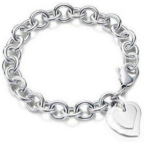 KOLA Braccialetto con pendente charm a cuore doppio, placcato in argento Sterling 925, chiusura a moschettone