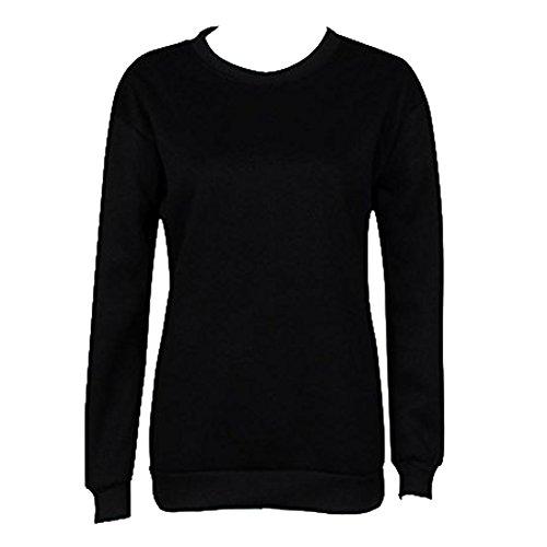 Hoodies Femmes Automne Manteaux Toison Tshirts Meilleur Ami Hiver Tops Filles Manches Longues Meilleure Amie Chaud Sweatshirts Décontractée Quotidien Noir Blanc S-XL hibote Black-BEFRI