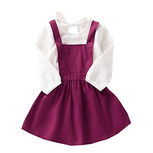 Deloito Kleinkind Baby Bekleidungsset Mädchen Einfarbig Blusen Gefaltet Langarm T-Shirt Tops + Rüschen Rock Trägerkleid Kinder Zweiteiliges (Pink,90/[12-18 Monate]) - Langarm T-shirt Rock