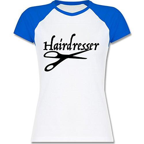 Shirtracer Handwerk - Friseur - Zweifarbiges Baseballshirt/Raglan T-Shirt für Damen Weiß/Royalblau