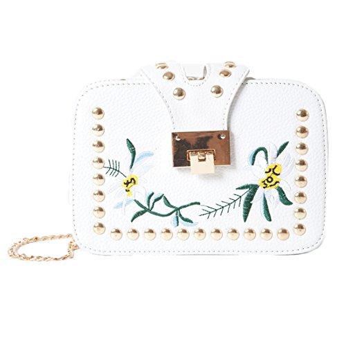 Accessoryo - Frauen weiße Blumenhandtasche mit Goldbolzen Detail