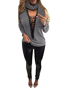 StyleDome Damen Dekolletee V-Ausschnitt Langarm Schulterfrei Pullover Strickwaren Elektroschocker Tops