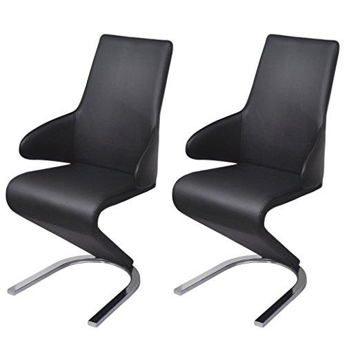 Festnight 2er-Set Esszimmerstühle Freischwinger Essstuhl aus Kunstleder Küchenstühle Stuhl mit...