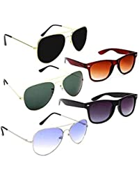ELLIGATOR Aviator and Wayfarer Unisex Sunglasses Combo (Multicolour) - Pack of 5