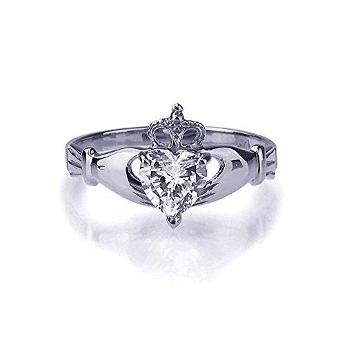 Kleine Schätze - 14 Karat (585) Weißgold Verlobungsring Ehering / Trauring / Partnerring - Zirkonia Herz Claddagh Ring
