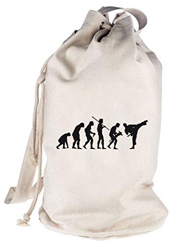 EVOLUTION JUDO, Kampfsport Karate bedruckter Seesack Umhängetasche Schultertasche Beutel Bag, Größe: onesize,natur (Karate Tasche Schwere)