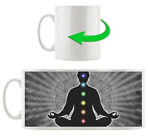 Meditation mit den 7 Chakren B&W Detail, Motivtasse aus weißem Keramik 300ml, Tolle Geschenkidee zu jedem Anlass. Ihr neuer Lieblingsbecher für Kaffe, Tee und Heißgetränke