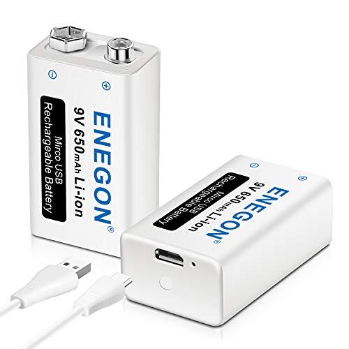 ENEGON 9V Block 650mAh Li-ion 6F22 Wiederaufladbare Batterie mit 2-in-1-Micro-USB-Kabel Ladegerät für Mikrofon, Rauchmelder, elektronisches Spielzeug, Walkie-Talkie und andere Geräte (2 Stück)