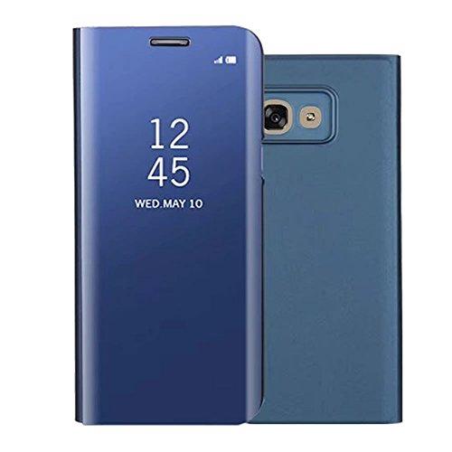 Sycode Lusso Screen Protector Blu Slim Fit Transparente Standing View Specchio Wallet Portafoglio Custodia per Samsung Galaxy A5 2017-Blu