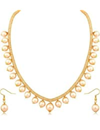 Jewels Galaxy American Diamond Filled Gold Net Chain With Pearls Drops Necklace Jewellery Set For Women