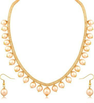 Best Valentine Gift-Sitashi Stylish American Diamond Gold Pearl Artificial Fashion Jewellery Necklace Set For Girls  available at amazon for Rs.299