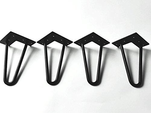 Schrank Leg (Hairpin legs Schwarz 20 cm + Bodenschoner + Schrauben, Hairpin Legs mit Gleiter Pulverbeschichtet geeignet für Kommoden)