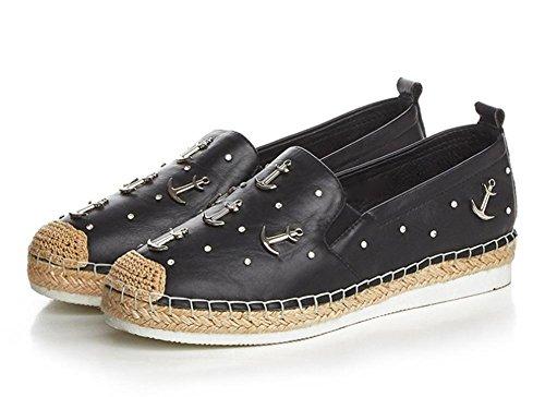 scarpe piane Ms. primavera e autunno scarpe casual zeppe tacco basso scarpe donna scarpe da donna rotonde Black