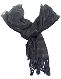 Ladies Black Striped Soft Fringed Scarf