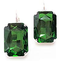 Emerald Octagon Crystal Earrings Silver Plated Lever Back