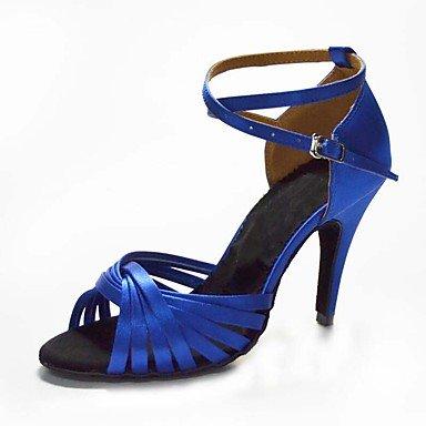 Scarpe da ballo-Personalizzabile-Da donna-Salsa / Samba-Tacco su misura-Raso-Nero / Blu / Marrone / Giallo / Verde / Rosa / Viola / Rosso Purple