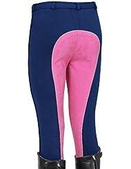 Pantalones de Equitación Jodhpurs Jods para Niños / Niñas - Elásticos - 2 Colores - Varias Tallas - 45.7cm (4 - 5 años), Azul Marino / Rosa