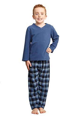 f00c1228275e3b Habigail Mens Boys Pyjamas PJ s Cozy Warm Fleece Pajama Set - Matching  Pajamas Sets (Denim