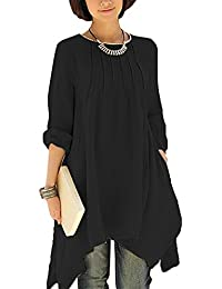 SG Unregelmäßiges Kleid Leinen Baumwolle Casual Tunika Kleid