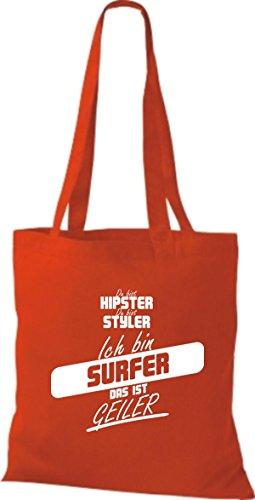 Borsa Di Stoffa Shirtstown Sei Hipster Sei Stiler Sono Surfer Questo È Rosso Caldo