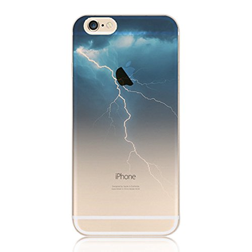 iPhone SE Case,iPhone 5/5S Case,iPhone SE 5 5S Transparent Silicone Scratch-Proof Cover,Sunroyal Ultra Thin Clear Soft Gel TPU Silicone Embossing Landscape Case Cover for iPhone 5 5S SE - Lighting Pattern