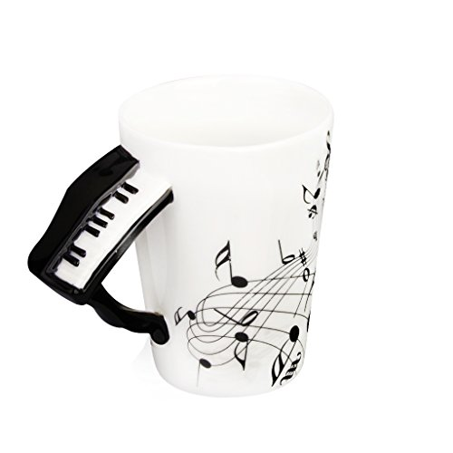Musik-Becher Mit Klavier Förmigen Griff Porzellan Tasse Schwarzen Note