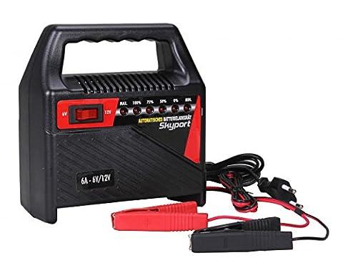 SKYPORT Batterie Ladegerät 6V / 12V -- 6A mit Batterielader für Motorrad und KFZ Batterien bis zu 120 Ah - (Pkw Batterieladegerät)