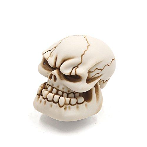 sourcing map Pomo de la Palanca de Cambios Calavera Cabeza Cráneo de Resina Blanco 8mm 10mm Rosca
