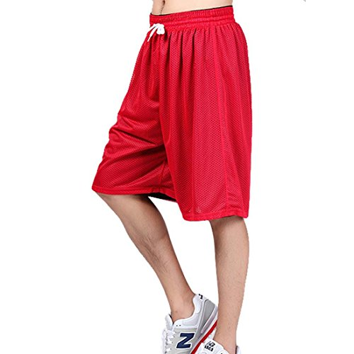 Men's Reversible Basketball Shorts,Quick Dry Sport Shorts,Running Gym Training Breathable Shorts Schwarz und Rot