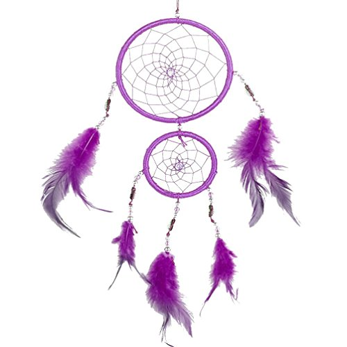 Hunpta Faite à la Main en Dentelle Dream Catcher Plumes Perle Décoration à Suspendre Ornement Cadeau Violet