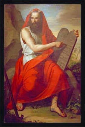 """Bild mit Rahmen: Moritz Daniel Oppenheim, """"Moses mit den Gesetzestafeln"""", 45 x 69 - Holz Fortuna L: Schwarz matt"""